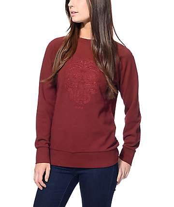 Obey Day Of The Dead Burgundy Crew Neck Sweatshirt