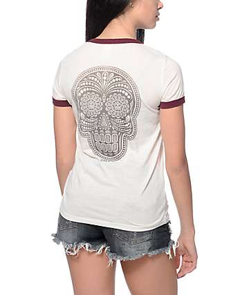 Obey Day Of The Dead Creme & Port Ringer T-Shirt
