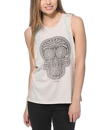 Obey Day Of The Dead Tie Dye Muscle Tank Top