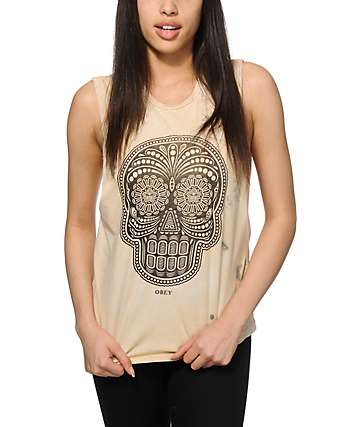 Obey Day Of The Dead Yellow Tie Dye Muscle Tee