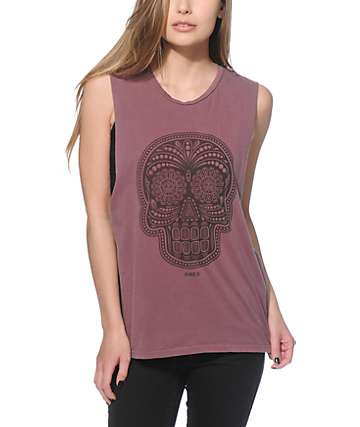 Obey Day Of the Dead Oxblood Muscle Tank Top