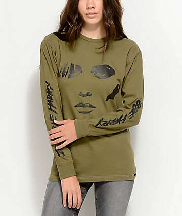 Obey Debbie Harry Visage Green Long Sleeve T-Shirt
