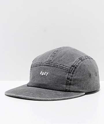 Obey Decades Black 5 Panel Strapback Hat