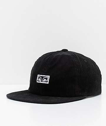 Obey Decades Black Corduroy Snapback Hat