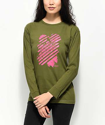 Obey Defiant Rose Olive Long Sleeve T-Shirt