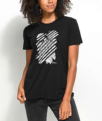 Obey Defiant Rose camiseta negra