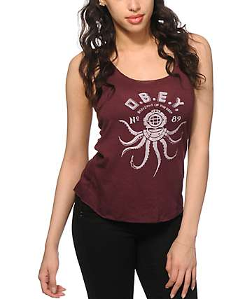 Obey Denizens Of The Deep Burgundy Tank Top