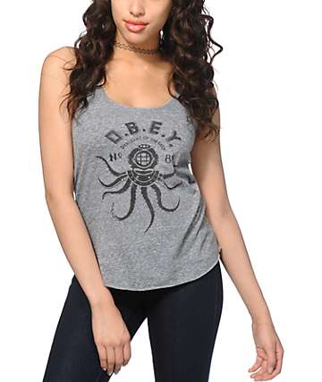 Obey Denizens Of The Deep Grey Tank Top