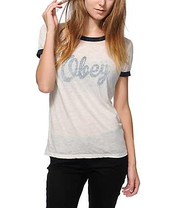Obey Dewallen Script Ringer T-Shirt