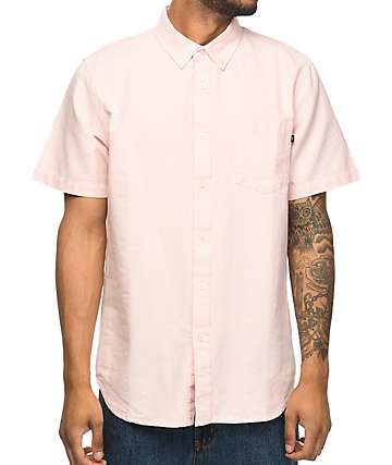 Obey Dissent II Pink Short Sleeve Button Up Shirt