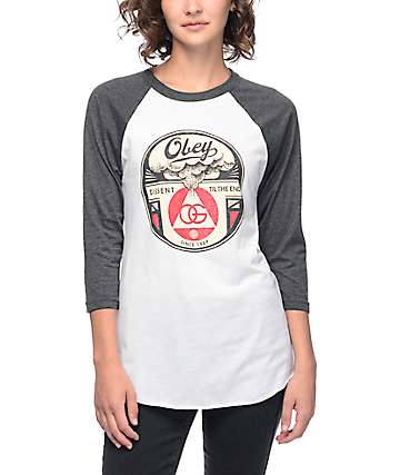 Obey Dissent Til The End White & Heather Black Baseball T-Shirt