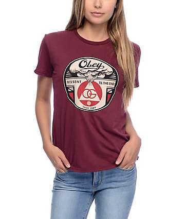 Obey Dissent Till End Burgundy T-Shirt