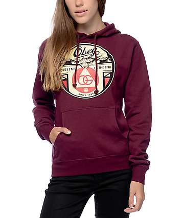Obey Dissent Till The End Burgundy Hoodie