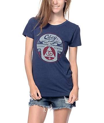 Obey Dissent Till The End Indigo T-Shirt