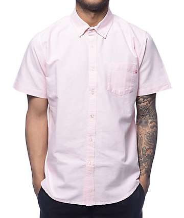 Obey Dissent Trait Pink Woven Shirt