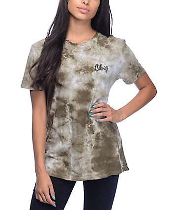 Obey Distressed Dewallen Olive Tie Dye T-Shirt