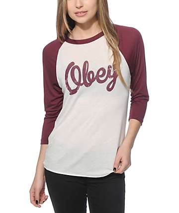 Obey Distressed Dewallen Script Baseball Tee