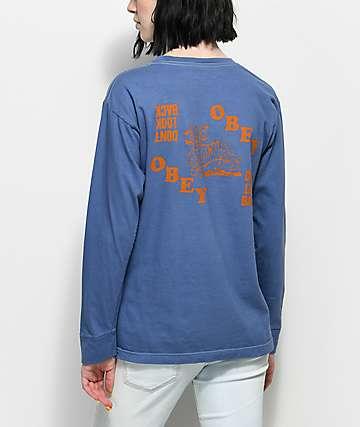 Obey Don't Look Back camiseta de manga larga en azul marino