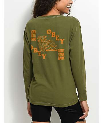 Obey Don't Look Back camiseta de manga larga en verde olivo