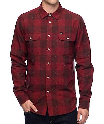 Obey Drifter Burgundy Flannel Shirt