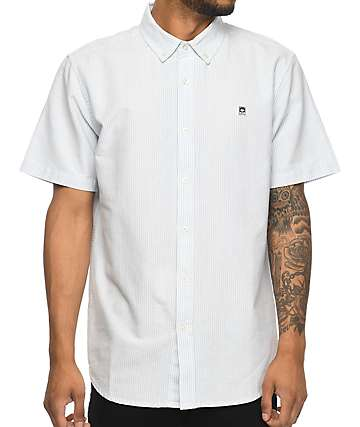 Obey Eighty Nine Blue Stripes Short Sleeve Button Up Shirt