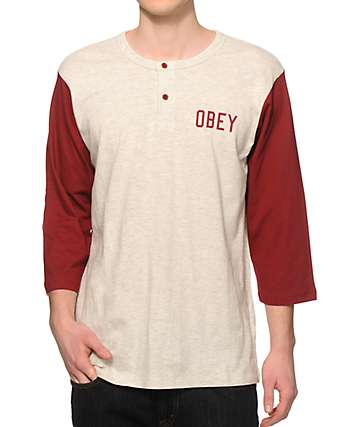 Obey Emerson Henley Baseball T-Shirt
