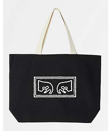 Obey Eyes Black Tote Bag