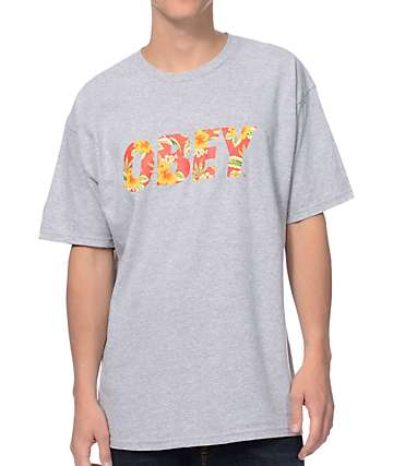 Obey Faster Times Heather Grey T-Shirt