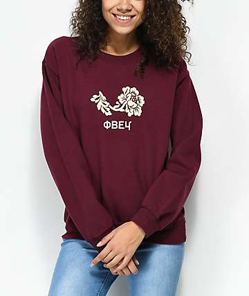 Obey Flower Burgundy Crew Neck Sweatshirt
