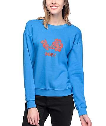 Obey Flower Delancey sudadera azul con cuello redondo