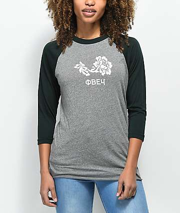 Obey Flower Grey & Emerald Baseball T-Shirt