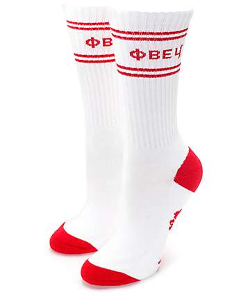 Obey Flower White & Red Crew Socks
