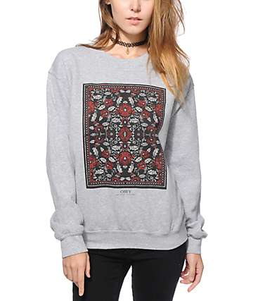 Obey Flowers Heather Grey Crew Neck Sweatshirt