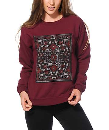 Obey Flowers Maroon Crew Neck Sweatshirt