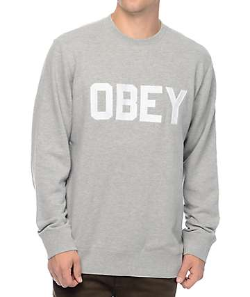 Obey Fordam Heather Grey Crew Neck Sweatshirt