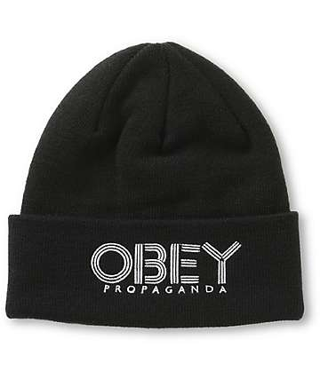 Obey Freestyle Black Fold Beanie