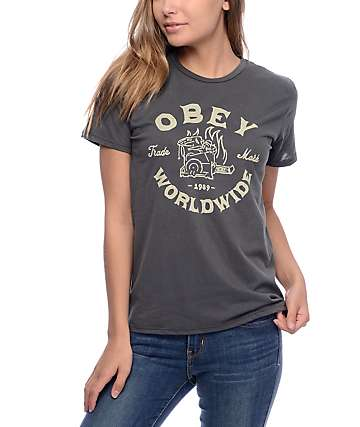 Obey Fresh Off Press Graphite T-Shirt