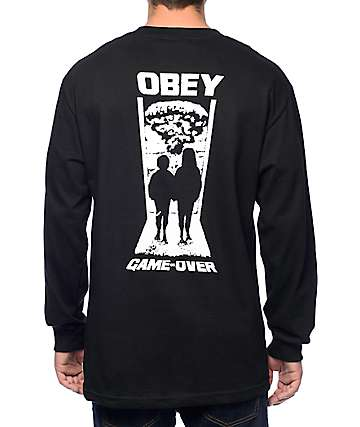 Obey Game Over Black Long Sleeve T-Shirt