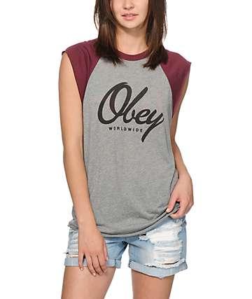 Obey Get Like Me Raglan Muscle Tee
