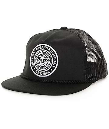 Obey Giant Black Trucker Hat