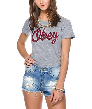 Obey Girls Dewallen Script Grey Tri-Blend T-Shirt