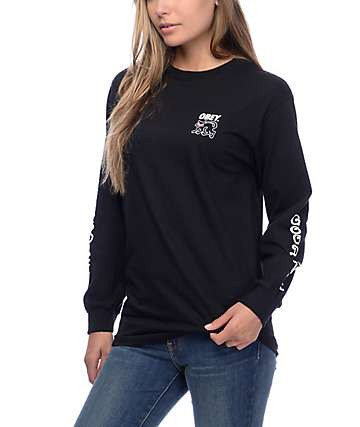 Obey Good Luck Black Cat Black Long Sleeve T-Shirt