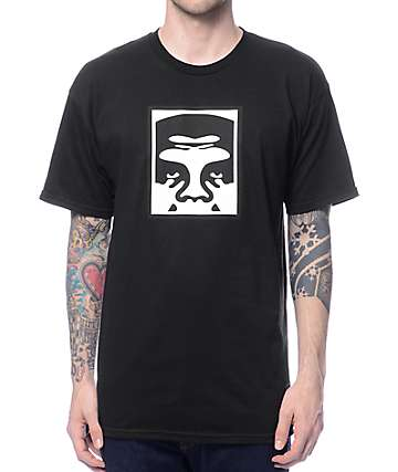 Obey Half Face Black T-Shirt