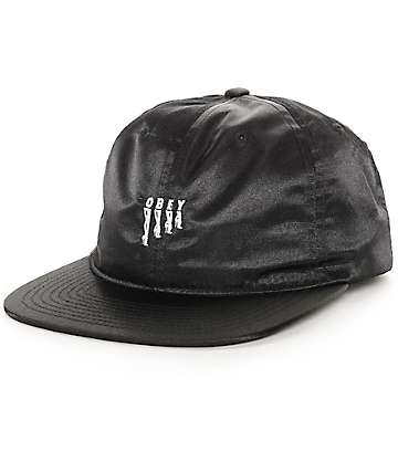Obey Heels Black Unstructured Satin Strapback Hat