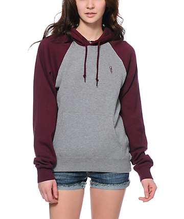 Obey Highland Grey & Maroon Pullover Hoodie