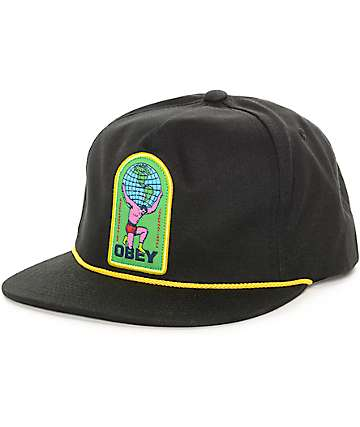 Obey International Black Snapback Hat