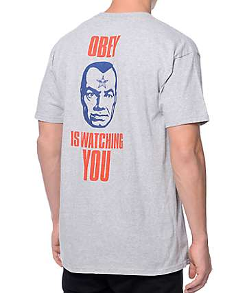 Obey Is Watching You Heather Grey T-Shirt