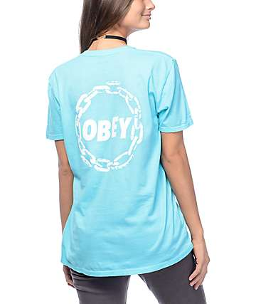 Obey Jumble Chain Turquoise T-Shirt