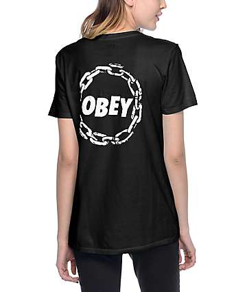 Obey Jumble Chain Turquoise Womens Classic T-Shirt