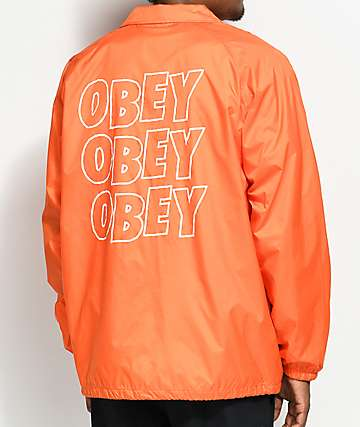 Obey Jumble Lo-Fi Orange Coaches Jacket